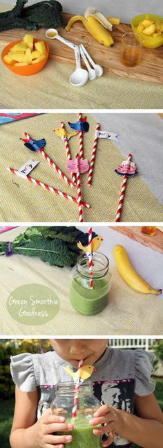 """GreenSmoothie Recipe aka """"Little Greenie"""" 1 cup packed kale (discard stems and tear into pieces), 1/2banana, 1/2 cupmangos (fresh or frozen), 1/2 cuppineapple (fresh or frozen), 1 teaspoon raw honey (or agave nectar), 3/4 cup orange juice"""