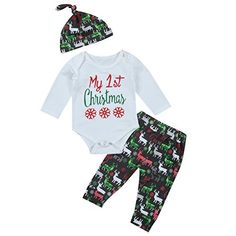 781c2f4d0 3Pcs Cute Baby Girl Boy Long Sleeve 1st Christmas Bodysuit and Deer Pants  Outfit with Hat