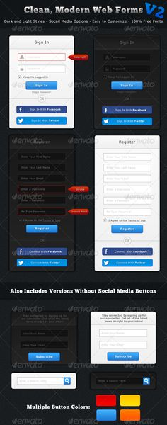 Modern, Clean Web Forms V2 - Dark and Light Styles by Fizzex This latest set of web forms is the new and improved version of my previous web form pack. Similar to version 1, Version 2 is des