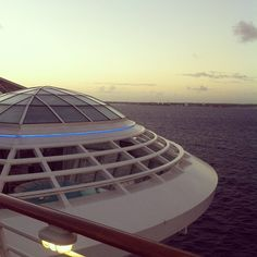 Bright and early in the Bahamas. One of the best places to watch Oasis of the Seas dock in port is from the top deck, just above the whirlpools.