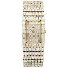 Vacheron Constantin Yellow Gold Emerald-Cut Diamond Bracelet Wristwatch 1