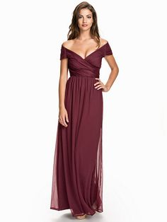 Cup Sleeve Maxi Dress - Nly Eve - Burgundy - Party Dresses - Clothing -  Women 7e23c4e20cee9