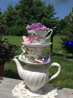 Stacked Teapot & Teacup Centerpiece - Pearls, Key, Butterflies, Rose - Alice in Wonderland Wedding, Shower, Sweet 16 or Mad Hatter Tea Party