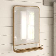 Shiplap Bathroom Wall, Bathroom Mirror Storage, Bathroom Mirror With Shelf, Brass Mirror, Gold Bathroom, Wall Mirrors, Master Bathroom, Glamorous Bathroom, Craftsman Bathroom