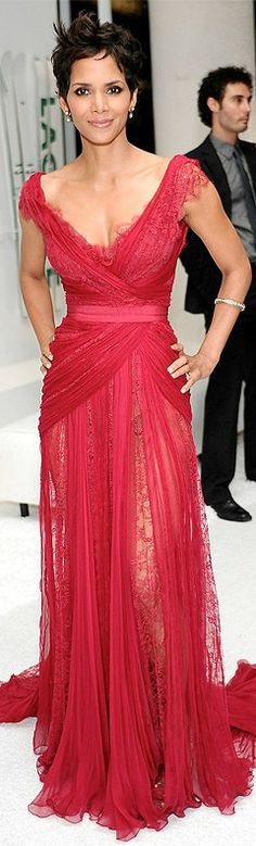 HALLE BERRY in a red lace Elie Saab gown