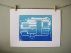 "Retro Camper. An original hand printed linocut block print in Blue Ombre'. As a child I was a bonafide ""camper kid"". It instilled in me a sense of adventure and the love of the outdoors. I also made a lot of friends this way, many who are still in my life today. I don't own a camper now, but I have the dream to own a vintage one someday. So here is a little reminder of a dream and I hope it will inspire you to be an adventurer. This print was inspired by the 1963 Shasta Airflyte camper…"