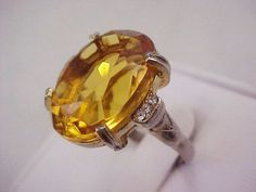 Vtg 1960s Chunky Oval Amber Glass Stone RS Accent Cocktail GoldTone Adj Ring Sz7 #NotSigned #Cocktail