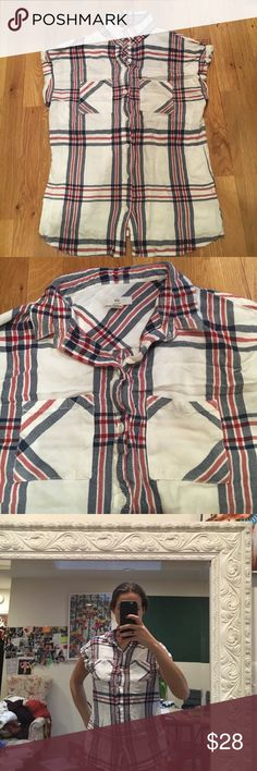 BILL soft white flannel pattern sleeveless blouse BILL - super soft, white with plaid pattern in red and blue; sleeveless, collar around neck, button down, pocket on front breast; worn once; 100% Rayon Bill Tops Button Down Shirts