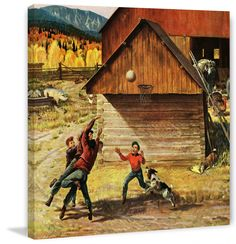 Ranch Basketball by John Clymer Painting Print on Canvas