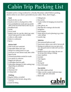 Packing List For Cabin Rentals
