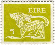 Ireland postage stamp: green Gerl, 1971. Designed by Heinrich Gerl
