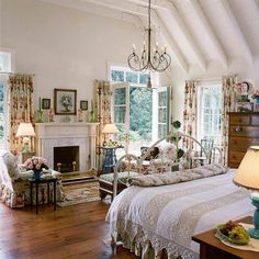 Shabby chic cottage style inside a bedroom