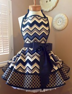 Michael Miller Chevy Chevron & Ta Dots Womans Retro Apron~Fun, Full Apron with Bib and Tiered Skirts. Trendy New Fabric Featuring Black & Taupe