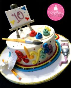 OMG, this would be perfect! Artist Cake-would be great paired with the art birthday party theme i pinned earlier Art Party Cakes, Cake Art, Bolo Tumblr, Bolo Fack, Art Themed Party, Artist Cake, Gateaux Cake, Painted Cakes, Cute Cakes