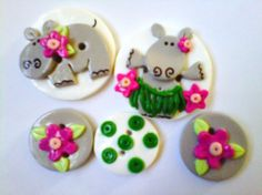 Button Handmade Polymer Clay Button Hula Hippo set of 5
