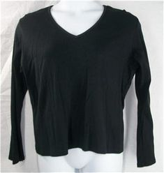 VENEZIA JEANS CLOTHING CO. Top 22 24 Black Plus Long Sleeve Shirt Cotton Solid #VeneziaJeansClothingCo #KnitTop