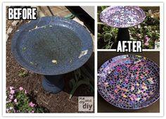 DIY Mosaic Tile Birdbath With Recycled DVDs | DIY Tag