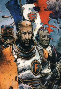 "From ""Crux universalis"" by Enki Bilal Fantasy Comics, Fantasy Books, Fantasy Art, Heavy Metal Comic, Heavy Metal Art, Enki Bilal Bd, Frank Margerin, Science Fiction, Jordi Bernet"