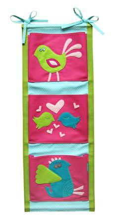 lukola handmade // Ptaszkowe kieszonki na łóżeczko - pionowe // Birds pockets for baby bed
