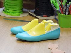 Blue flats made in our shoe making course 'Ballet Pumps for Beginners'.  http://icanmakeshoes.com/courses/