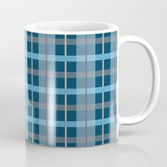 Illustration of a plaid pattern in blue colors. © Amalia Ferreira-Espinoza www.afeimages.ca | For custom orders or design please contact me at amalia@afeimages.ca Available in 11 and 15 ounce sizes, our premium ceramic coffee mugs feature wrap-around art and large handles for easy gripping. Dishwasher and microwave safe, these cool coffee mugs will be your new favorite way to consume hot or cold beverages.