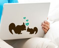 Squirrel Decal home Decor removable vinyl stickers with Hearts