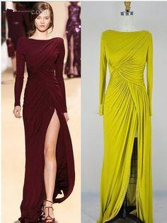 4257d5bfa82 2014 Elie Saab Long Sleeves Pleats Evening Dresses Bateau Neck Pleats  Zipper Back Chiffon Split Front Side Sheath Formal Gowns Patterns For Evening  Dresses ...