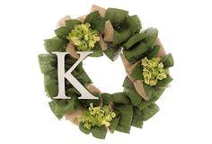 22' Hydrangea Letter Wreath, Dried on OneKingsLane.com