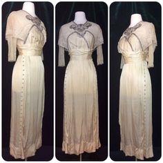 Antique Victorian Edwardian wedding dress Titanic Downton Abbey gown