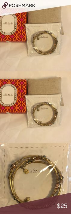 """Stella & Dot Isabelle Wrap Bracelet Gold Stunning vintage gold tone wrapped bracelet with faux opal, diamond, and amethyst gems .  2 1/4"""" interior diameter.  MISP.  I am selling these items to help my daughter, a part-time S&D stylist, who is on sabbatical from teaching, fund her foreign travels. Some of these may have been previous worn or tried on at trunk shows. I have tried to describe any wear or issues noted.  All items will be shipped in a Stella and Dot box but name on box may not…"""