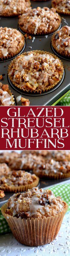 Glazed Streusel Rhubarb Muffins 2