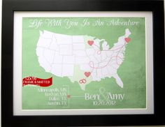 Travel Map Gift for Newlyweds Couple: Honeymoon Cute Wedding Gift Unique Jet Setter Present Locations Quote Hearts Dotted Line 12x16 Print