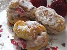 Strawberry Cannoli Cream Puffs - Classic creme puffs filled with a creamy blend of ricotta cheese, chocolate chips and fresh strawberries.
