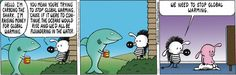 Pearls Before Swine take on Climate Change - a shark raising money for global warming