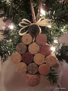 Wine Cork Christmas Tree Ornament by lollyjodesigns on Etsy, $8.00