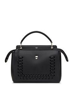 Dotcom Medium Whipstitch Satchel Bag, Black