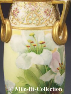 Nippon Hand Painted Lilies w Raised Jewels Tri Handled Vase | eBay