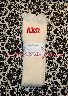 Sorority Grace and Lace boot socks from The Embroidery Chick! Lace Knitting, Knitting Socks, Alpha Apparel, Lace Boot Socks, Cable Knit Socks, Grace And Lace, Alpha Chi Omega, Sorority, Christmas Stockings