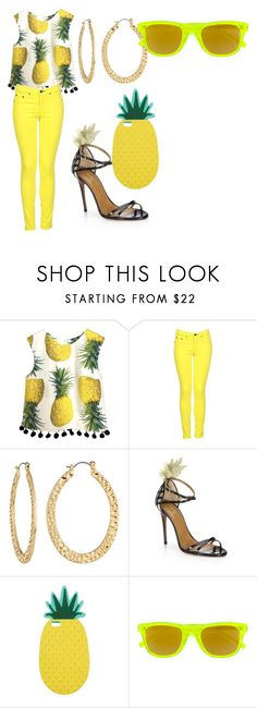 """Pineapple"" by mayflowers9 ❤ liked on Polyvore featuring rag & bone, Fragments, Aquazzura, Miss Selfridge and Yves Saint Laurent"