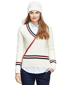 Vintage collegiate inspired style knit in a soft cotton and wool blend with allover cable design. Three color tipping at neck, sleeve and hem. Winter Fashion Outfits, Autumn Winter Fashion, Fall Outfits, Clothes For Sale, Clothes For Women, Preppy Winter, Preppy Look, Style Classique, Ugg