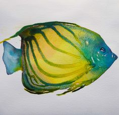 "Tropical Fish watercolor 7.5"" x 7.5"" 2014"