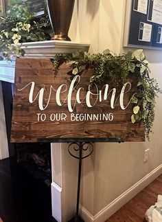 "$65 · Size: Approximately 24"" tall by 36"" wide Details: Medium/Dark Stained wood with white, hand painted lettering. This signs features the wording ""welcome to our beginning"". Options: Do you like this style or design but want it modified to fit your big day? Send me a message prior to order and I'd be happy to work with you! When ordering, please keep in mind no two pieces of wood are the same, and no two signs will appear identical in stain color, distressing, or natural detailing.."