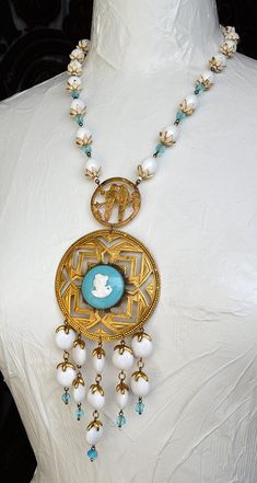 necklace OOAK necklace with medallion Gold colours handmade Necklace cameo unique