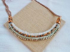 Copper gemstone and sterling silver wrapped necklace by madjewelin