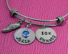 10K Runner | Personalized Name Bracelet | Runner Gifts | Cross Country | Runner Bracelet | Running Shoe Charm Bracelet | Gift for Runners by charmedbykobe on Etsy