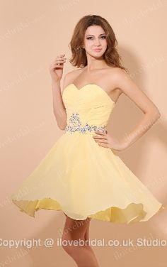Bonny Daffodil Chiffon A-line Cocktail Dress With Dazzling Crystals