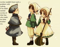 Hetalia Headcanons>>>ROMANO LOOKS SO CUTE TRYING TO PROTECT ITALY FROM HRE AWWWWWWWW~