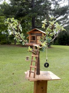 Items similar to Tree House Dreams Bird House Functional or. Informations About Items similar to Tree House Dreams Bird House Functional or Collectable o Bird Feeder Plans, Bird House Feeder, Hanging Bird Feeders, Diy Bird Feeder, Unique Bird Feeders, Fairy Tree Houses, Bird Houses Diy, Houses Houses, Garden Projects