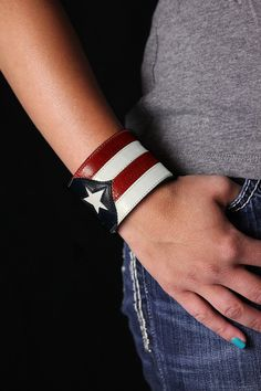 SALE Patriotic Cuff Red White and Blue Cuff by EthosCustomBrands