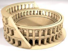 Modelagem de um mini coliseu em 3D. Cliente: BIG (Londres). Projeto: Apresentação Heineken.